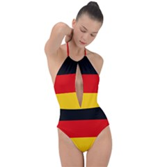 Flag Of Germany Plunge Cut Halter Swimsuit by abbeyz71