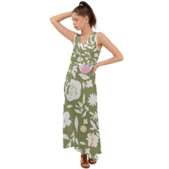Sap Green Watercolor- V-neck Chiffon Maxi Dress by bohojosartulfashion