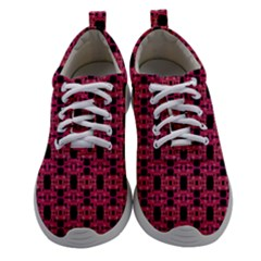 Red Black Abstract Pattern Women Athletic Shoes by BrightVibesDesign