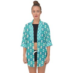 Teal White  Abstract Pattern Open Front Chiffon Kimono by BrightVibesDesign
