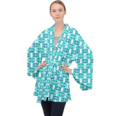 Teal White  Abstract Pattern Long Sleeve Velvet Kimono  by BrightVibesDesign