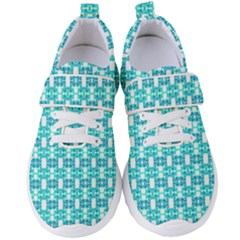 Teal White  Abstract Pattern Women s Velcro Strap Shoes by BrightVibesDesign
