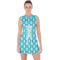 Teal White  Abstract Pattern Lace Up Front Bodycon Dress