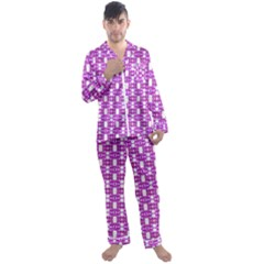 Pink  White  Abstract Pattern Men s Satin Pajamas Long Pants Set by BrightVibesDesign