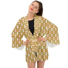 Yellow  White  Abstract Pattern Long Sleeve Kimono by BrightVibesDesign