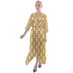 Yellow  White  Abstract Pattern Quarter Sleeve Wrap Front Maxi Dress