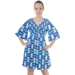 Blue White  Abstract Pattern Boho Button Up Dress