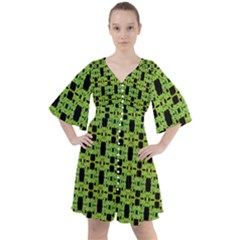Green Black Abstract Pattern Boho Button Up Dress