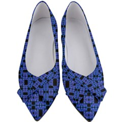 Blue Black Abstract Pattern Women s Bow Heels