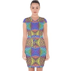 Colorful Circle Abstract White Brown Blue Yellow Capsleeve Drawstring Dress