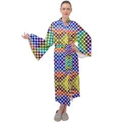 Colorful Circle Abstract White Brown Blue Yellow Maxi Velour Kimono by BrightVibesDesign