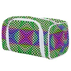 Bright  Circle Abstract Black Green Pink Blue Toiletries Pouch by BrightVibesDesign