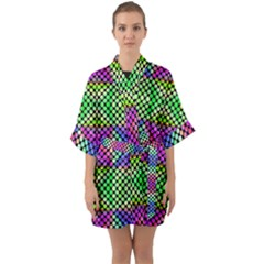 Bright  Circle Abstract Black Green Pink Blue Half Sleeve Satin Kimono  by BrightVibesDesign