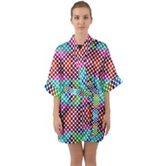 Colorful Circle Abstract White  Red Pink Green Half Sleeve Satin Kimono  by BrightVibesDesign
