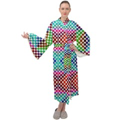 Colorful Circle Abstract White  Red Pink Green Maxi Velour Kimono by BrightVibesDesign