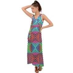 Colorful Circle Abstract White  Red Pink Green V-neck Chiffon Maxi Dress