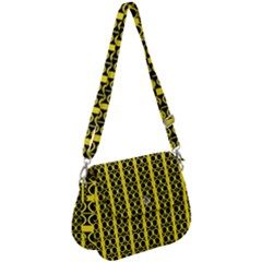 Circles Lines Black Yellow Saddle Handbag