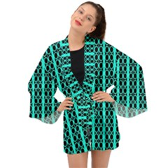 Circles Lines Black Green Long Sleeve Kimono by BrightVibesDesign