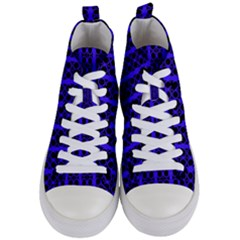 Circles Lines Black Blue Women s Mid-top Canvas Sneakers