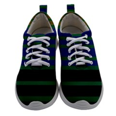 Black Stripes Green Olive Blue Women Athletic Shoes by BrightVibesDesign