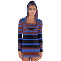 Black Stripes Blue Green Orange Long Sleeve Hooded T-shirt by BrightVibesDesign