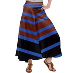 Black Stripes Blue Green Orange Satin Palazzo Pants by BrightVibesDesign