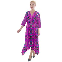 Ab 59 Quarter Sleeve Wrap Front Maxi Dress by ArtworkByPatrick