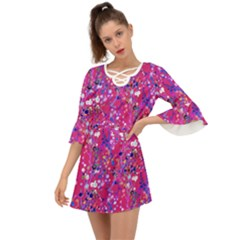 Violet Blue Pink White Abstract Design     Criss Cross Mini Dress
