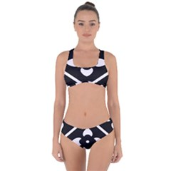 Pattern Flower Black Criss Cross Bikini Set
