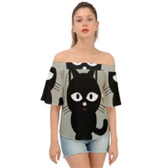 Cat Pet Cute Black Animal Off Shoulder Short Sleeve Top
