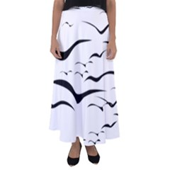 Sky Birds Flying Flock Fly Flared Maxi Skirt