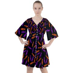 Halloween Candy On Black Boho Button Up Dress by bloomingvinedesign