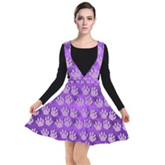 Pattern Texture Feet Dog Purple Plunge Pinafore Dress