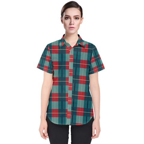 Pattern Texture Plaid Women s Short Sleeve Shirt by Mariart