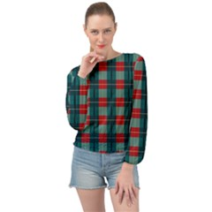 Pattern Texture Plaid Banded Bottom Chiffon Top