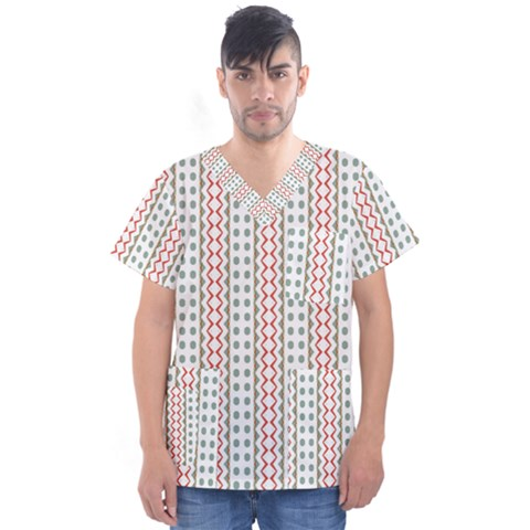 Pattern Line Background Wallpaper Men s V-neck Scrub Top by Mariart