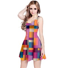 Abstract Background Geometry Blocks Reversible Sleeveless Dress