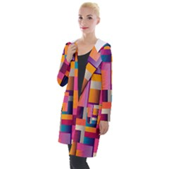 Abstract Background Geometry Blocks Hooded Pocket Cardigan