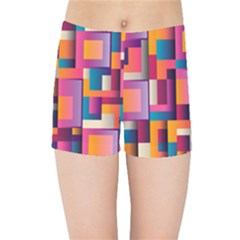Abstract Background Geometry Blocks Kids  Sports Shorts