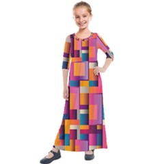 Abstract Background Geometry Blocks Kids  Quarter Sleeve Maxi Dress