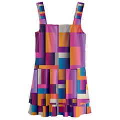 Abstract Background Geometry Blocks Kids  Layered Skirt Swimsuit