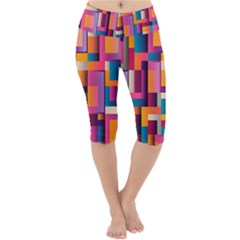 Abstract Background Geometry Blocks Lightweight Velour Cropped Yoga Leggings