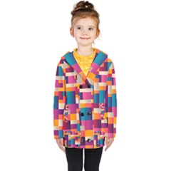 Abstract Geometry Blocks Kids  Double Breasted Button Coat by Alisyart