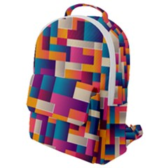 Abstract Geometry Blocks Flap Pocket Backpack (small)