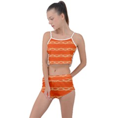 Pattern Orange Summer Cropped Co Ord Set by HermanTelo