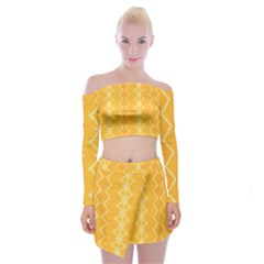 Pattern Yellow Off Shoulder Top With Mini Skirt Set by HermanTelo