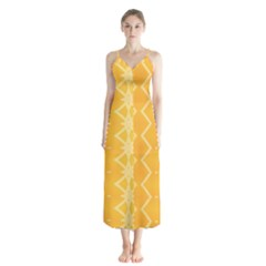 Pattern Yellow Button Up Chiffon Maxi Dress