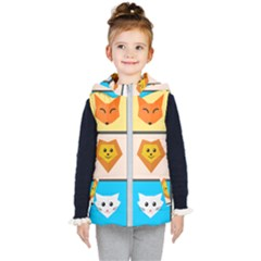 Animals Cute Flat Cute Animals Kids  Hooded Puffer Vest