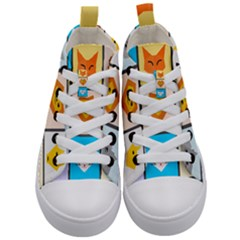 Animals Cute Flat Cute Animals Kids  Mid-top Canvas Sneakers