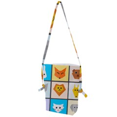 Animals Cute Flat Cute Animals Folding Shoulder Bag by HermanTelo